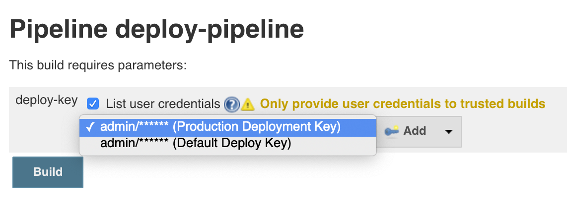 Select user-scoped credentials for build