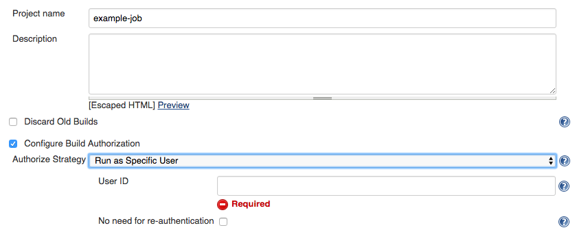 job config authorize project