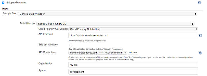 cloudfoundry cli workflow snippet