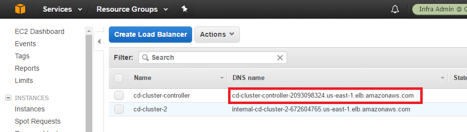 get aws load balancer name